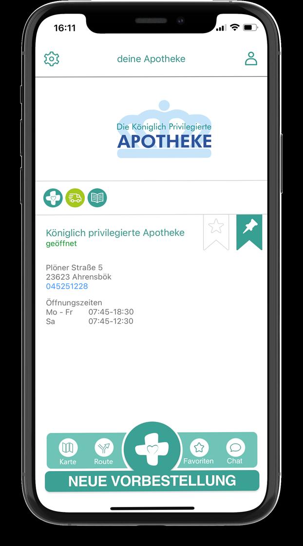 Mockup von der App